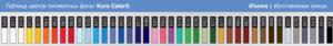 Таблица цветов фольги Курц Колорит